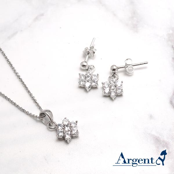 雪晶花漾純銀項鍊耳針套組 銀飾推薦