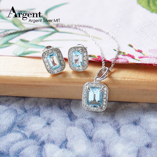 簡約寶鑽純銀項鍊耳針套組|銀飾推薦
