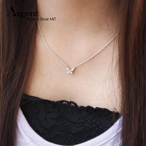真愛鑽蝶造型鑲鑽純銀項鍊銀飾