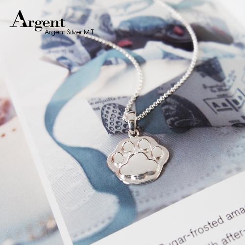 可愛貓掌造型雕刻純銀項鍊銀飾