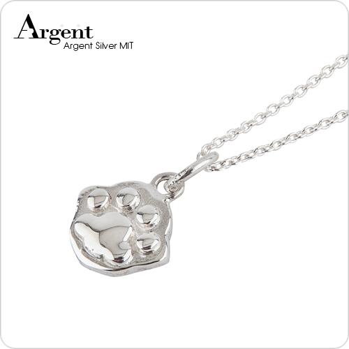 迷你貓掌雕刻純銀項鍊銀飾