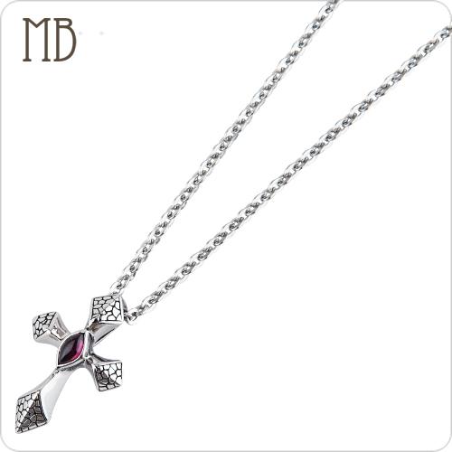 「網紋十字(紫鑽)」造型白鋼項鍊|防過敏316L醫療鋼項鍊