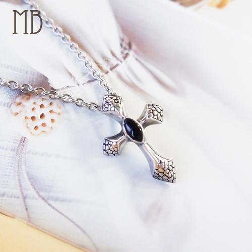 「網紋十字(黑鑽)」造型白鋼項鍊|防過敏316L醫療鋼項鍊
