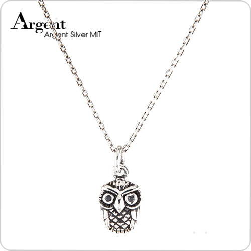 優雅貓頭鷹造型鑲鑽純銀項鍊銀飾