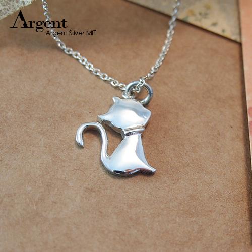 淑女貓素面簡約純銀項鍊銀飾|銀項鍊推薦