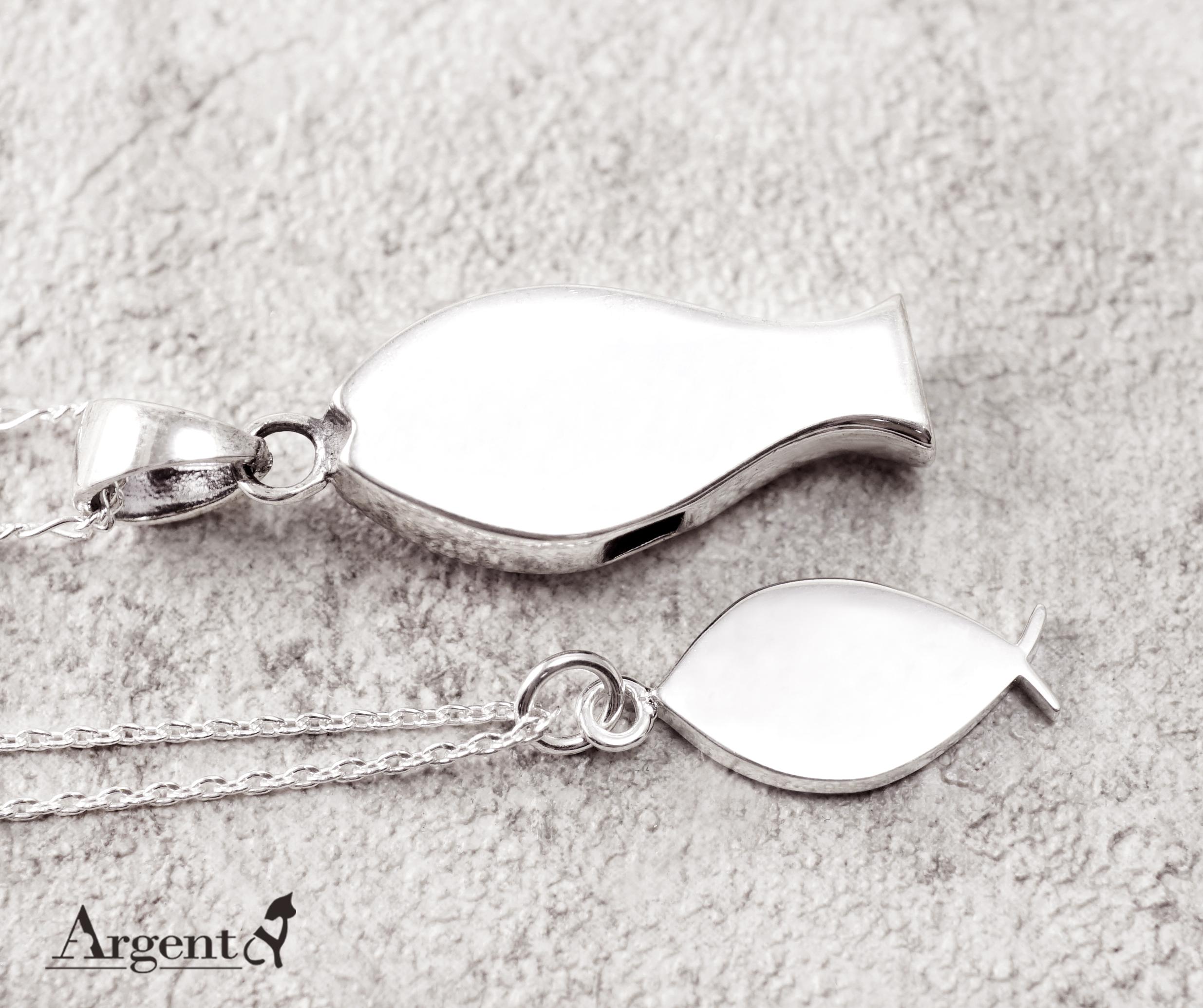 雙銀魚造型情人純銀對鍊|情侶對鍊推薦
