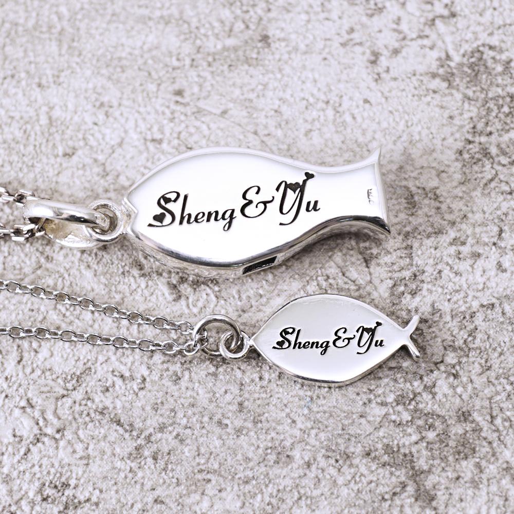 哨子魚+小銀魚造型情人純銀對鍊|情侶對鍊推薦