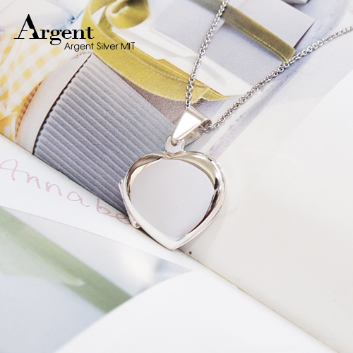 愛心平鏡面純銀項鍊銀飾