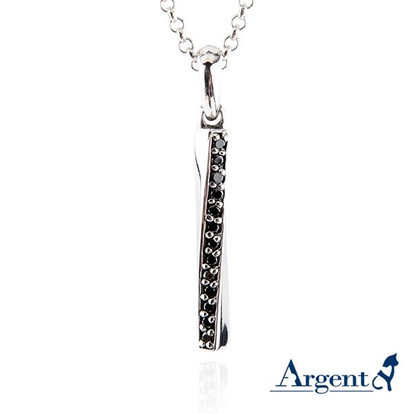 黑鑽旋轉愛戀造型純銀項鍊銀飾 銀項鍊推薦