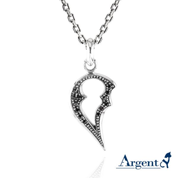 黑鑽「心戀」造型項鍊銀飾|銀項鍊推薦