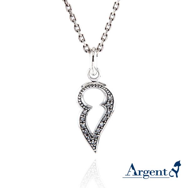 白鑽「心戀」造型項鍊銀飾|銀項鍊推薦