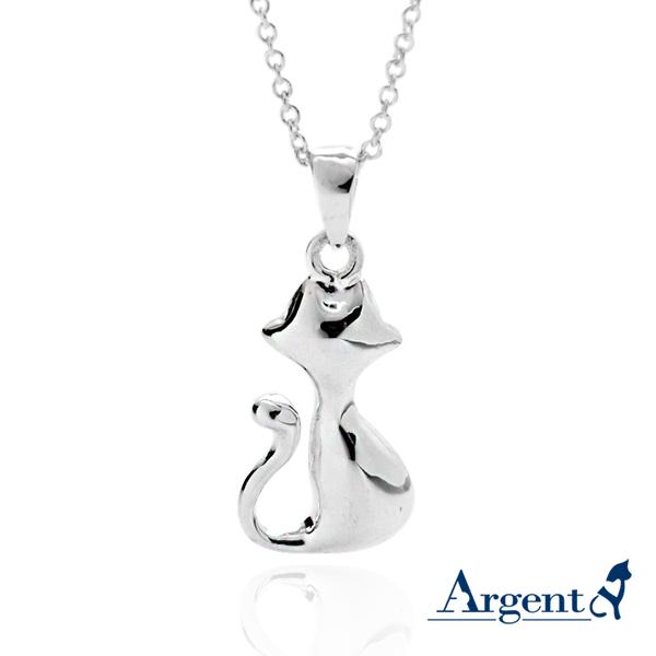精靈貓造型簡約純銀項鍊銀飾