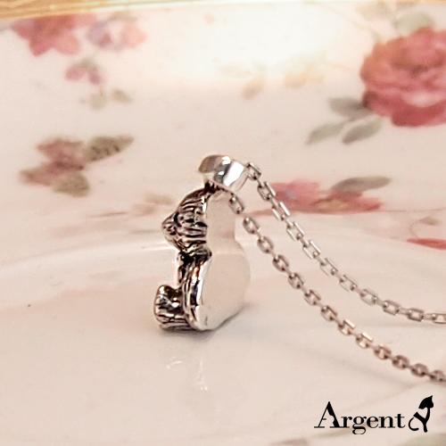 領結小熊造型雕刻純銀項鍊銀飾