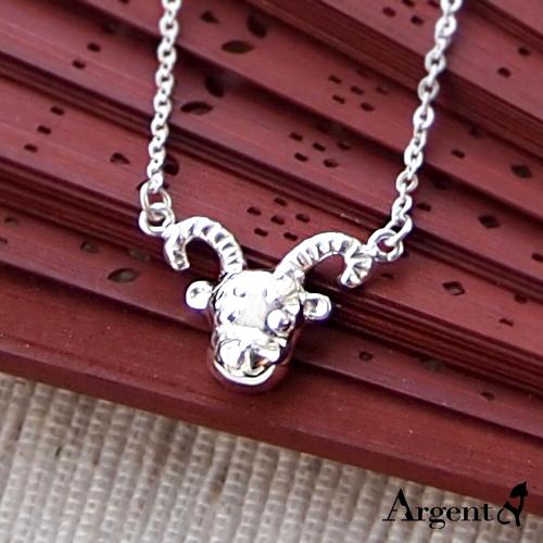 喜羊羊造型雕刻純銀項鍊銀飾