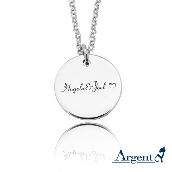 大圓牌英文名字刻字項鍊銀飾|客製化項鍊刻字訂做