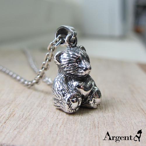 愛心小熊造型純銀項鍊銀飾