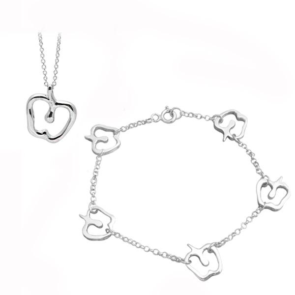 「蘋果戀曲」純銀手鍊項鍊套組|銀飾推薦