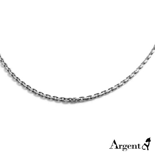 2.2mm方格染黑純銀項鍊銀飾
