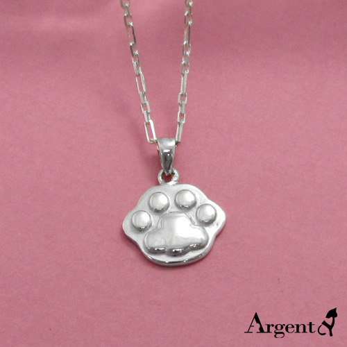 中型可愛貓掌雕刻純銀項鍊銀飾