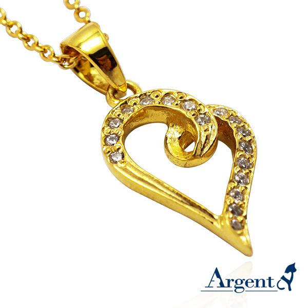 晶鑽心動造型鑲鑽純銀項鍊銀飾