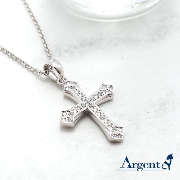優雅十字晶鑽造型純銀項鍊銀飾