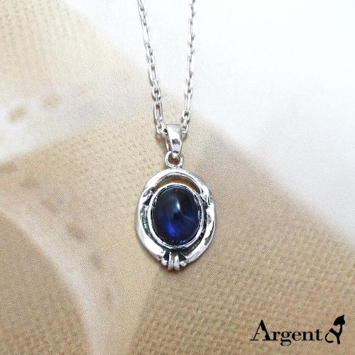 波紋寶鏡天然寶石純銀項鍊銀飾|銀項鍊推薦