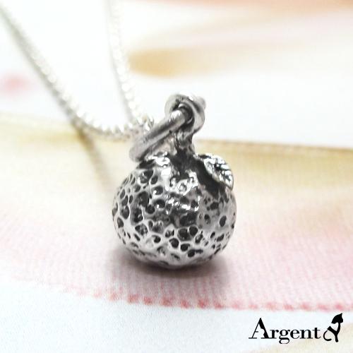 小橘子造型可愛純銀項鍊銀飾