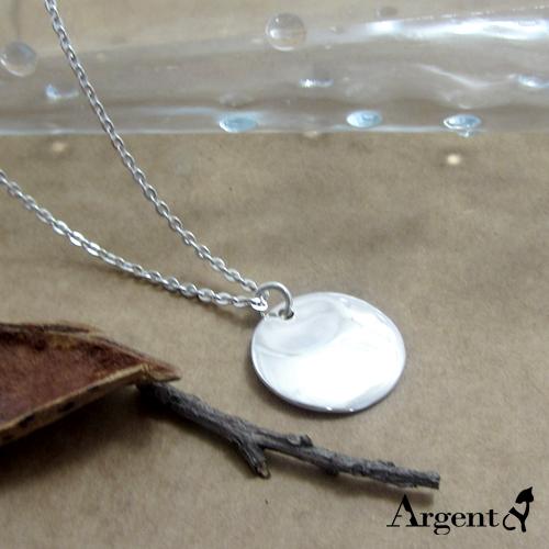 圓牌凹弧(無刻字)簡約純銀項鍊銀飾
