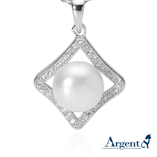 菱形珍珠天然寶石純銀項鍊銀飾|銀項鍊推薦