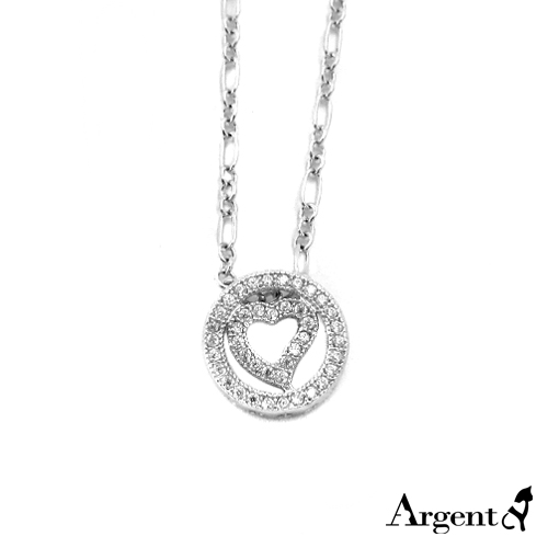 「愛心圓」鑲鑽純銀項鍊銀飾|銀項鍊推薦