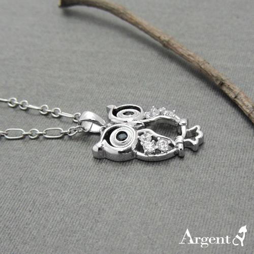 站立貓頭鷹造型鑲鑽純銀項鍊銀飾