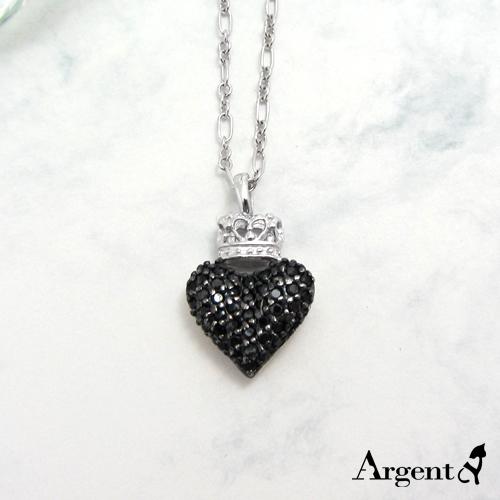 「皇冠愛心」雙面設計純銀項鍊|銀項鍊推薦