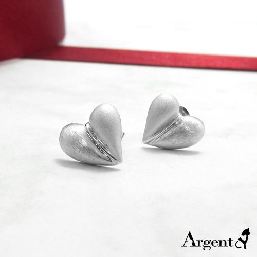 霧面桃心純銀項鍊耳針銀飾套組|銀飾推薦