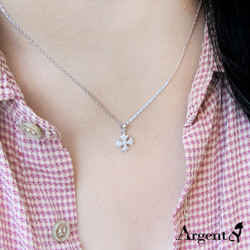 晶鑽聖十字造型純銀項鍊銀飾 銀項鍊推薦