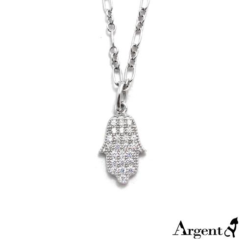 大「晶鑽佛手」造型純銀項鍊銀飾|銀項鍊推薦
