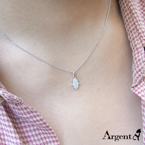 小「晶鑽佛手」造型純銀項鍊銀飾|銀項鍊推薦