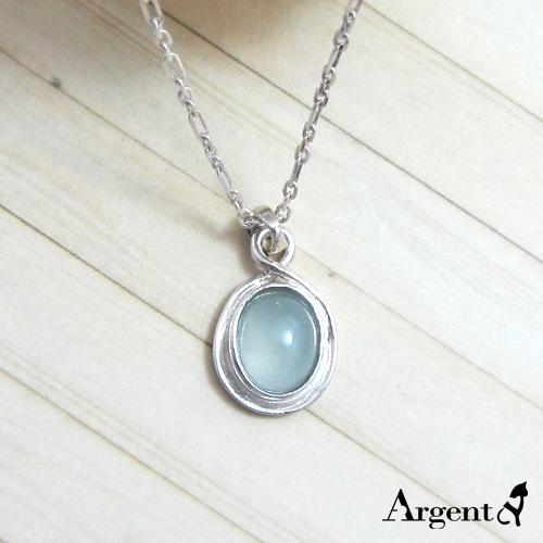 雙環寶鏡天然寶石純銀項鍊銀飾|銀項鍊推薦