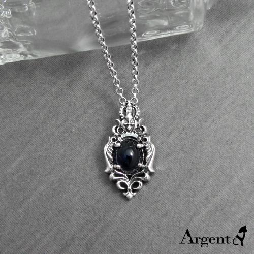 皇冠翼蝶天然寶石純銀項鍊銀飾|銀項鍊推薦