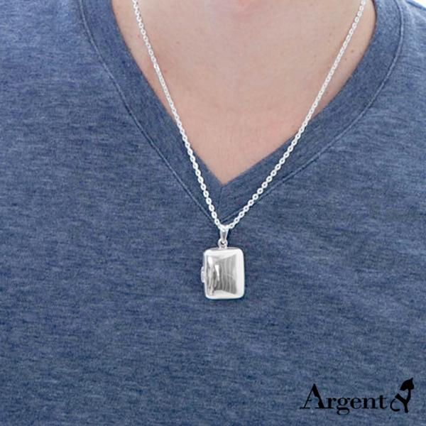 方型大浮面純銀項鍊銀飾