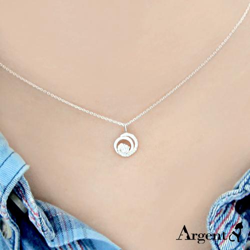 晶鑽雙旋造型純銀項鍊銀飾|銀項鍊推薦
