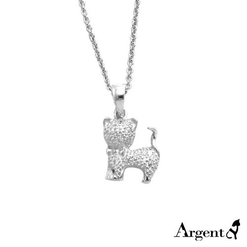 晶鑽小貓造型雕刻純銀項鍊銀飾