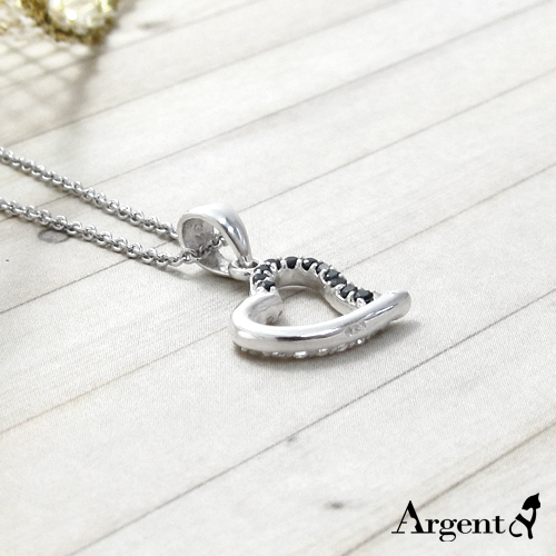 巧心造型鑲鑽純銀項鍊銀飾|銀項鍊推薦