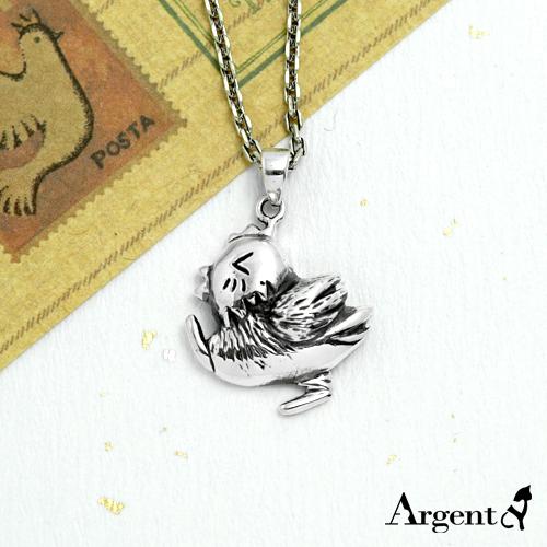 眨眼雞可愛造型純銀項鍊銀飾