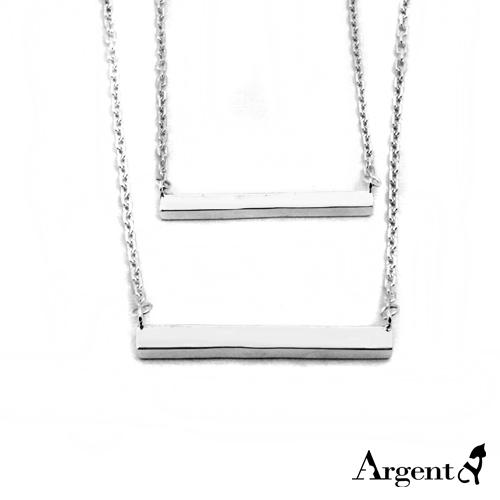橫版簡約長柱純銀對鍊銀飾|情侶對鍊推薦