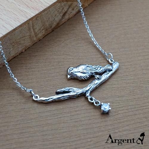 枝頭小鳥造型雕刻純銀項鍊銀飾