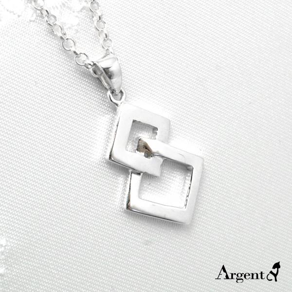「雙菱」造型簍空純銀項鍊銀飾