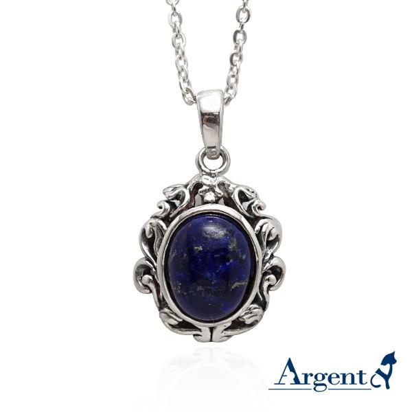 復古寶鏡天然寶石純銀項鍊銀飾|銀項鍊推薦