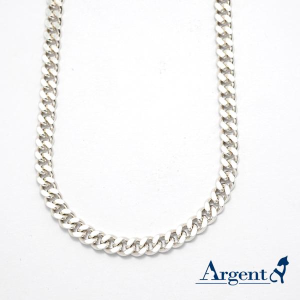 雙層扁鍊6.5mm單條純銀項鍊銀飾