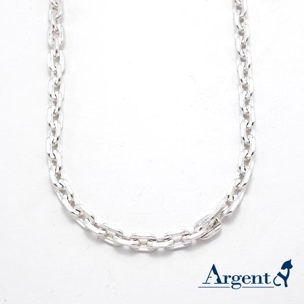 方格6mm單條純銀項鍊銀飾