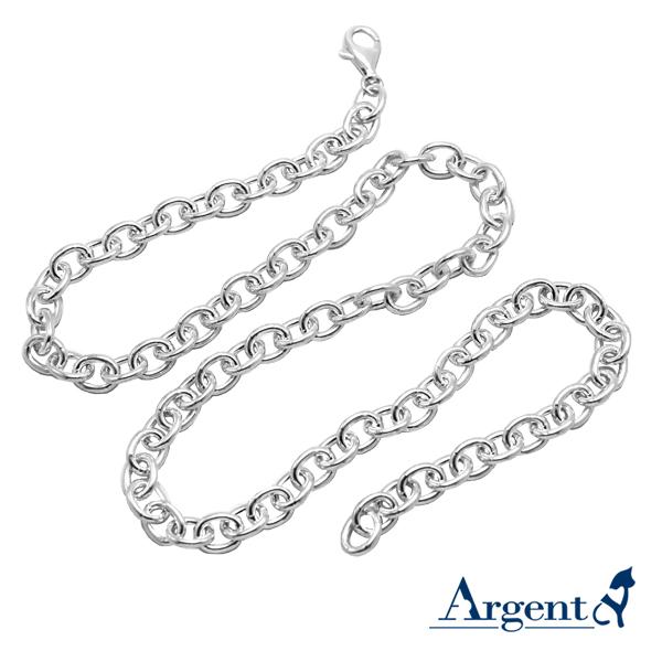 純銀單鍊|24吋簡約大方造型純銀橢圓單鍊
